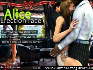 Alice erection race with erected cock jerk-off