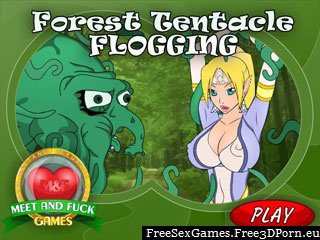 Forest tentacle monster likes painful sex with little elves