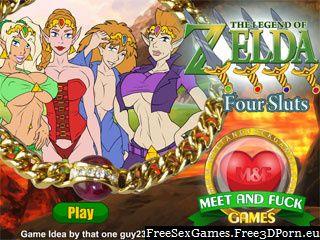 Porn game of Legend of Zelda with four elf sluts